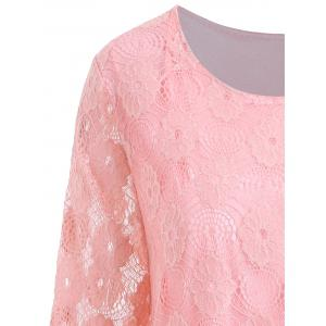 Plus Size Longline Floral Lace Panel Blouse - PINK 4XL