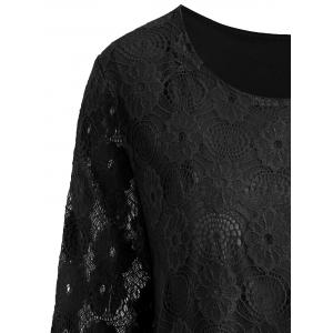 Plus Size Longline Floral Lace Panel Blouse - BLACK 5XL