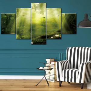 Wall Art Sunshine Forest Print Split Canvas Paintings - GREEN 1PC:12*31,2PCS:12*16,2PCS:12*24 INCH( NO FRAME )