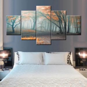 Fog Forest Print Split Canvas Wall Art Paintings - COLORMIX 1PC:10*24,2PCS:10*16,2PCS:10*20 INCH( NO FRAME )
