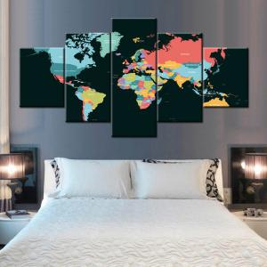 World Map Print Split Canvas Wall Art Paintings - COLORFUL 1PC:10*24,2PCS:10*16,2PCS:10*20 INCH( NO FRAME )