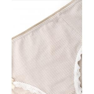 Striped Lace Trim Cotton Panties - LIGHT KHAKI M