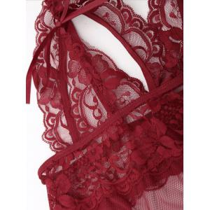 See Through Lace Slip Teddy - WINE RED M
