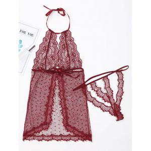 Sheer Halter Babydoll with Lace - WINE RED XL