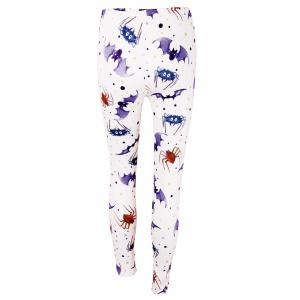 Bat Spider Print Haute taille Leggings de Halloween - Violet Clair L
