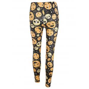 Pumpkin Face Print High Waisted Halloween Leggings - BLACK AND ORANGE S