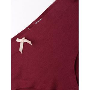 Seamless Middle Waist Panties - WINE RED L