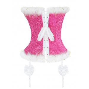 Corset Top with Faux Fur Trim - WATER RED L