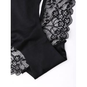 Sheer Cut Out Lace Panties - BLACK M