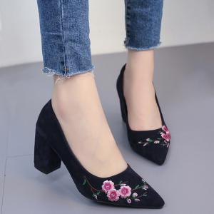 Chunky Broderie Flower Pointed Toe Pumps - Bleu 37