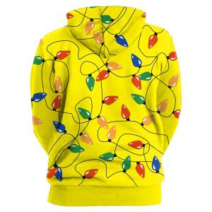 Kangaroo Pocket Christmas Party Light Hoodie - Jaune 2XL