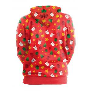 Zip Up Christmas Tree Bells Santa Claus Hoodie - RED L