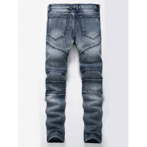Straight Color Wash Ripped Moto Jeans - Bleu 34