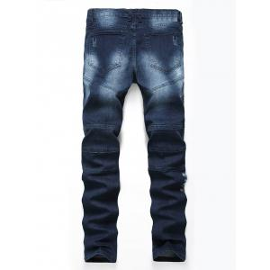 Straight Color Wash Ripped Moto Jeans - Azuré 40
