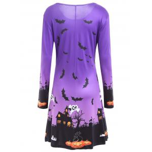 Long Sleeve Bat Print Swing Halloween Dress - PURPLE XL