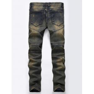 Straight Color Wash Ripped Moto Jeans - KHAKI GREY 34