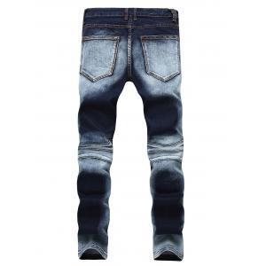 Acid Wash Ripped Biker Jeans - Bleu 32