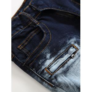 Acid Wash Ripped Biker Jeans - Bleu 42