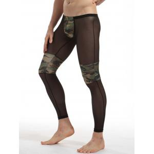 Voile Camouflage Panel Convex Pouch Underpants - CAMOUFLAGE XL