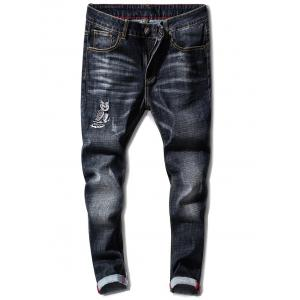 Slim Fit Zipper Fly Owl Embroidery Jeans - BLACK 32