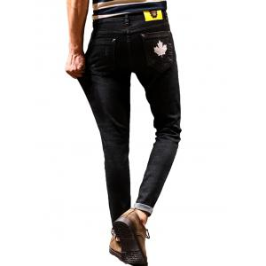 Zip Fly Maple Leaf Print Tapered Jeans - BLACK 32