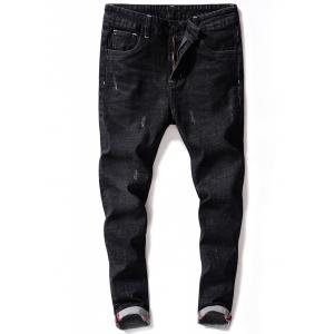 Zip Fly Maple Leaf Print Tapered Jeans - BLACK 34
