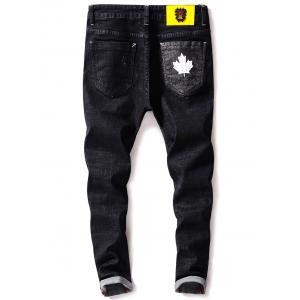 Zip Fly Maple Leaf Print Tapered Jeans - Noir 38