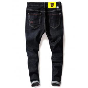 Graphic Print Zip Fly Tapered Jeans - Noir 32