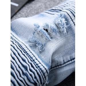 Straight Color Wash Ripped Moto Jeans - Bleu clair 36