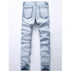 Straight Color Wash Ripped Moto Jeans - LIGHT BLUE 38