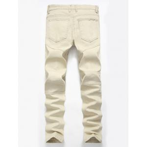 Straight Color Wash Ripped Moto Jeans - LIGHT KHAKI 40