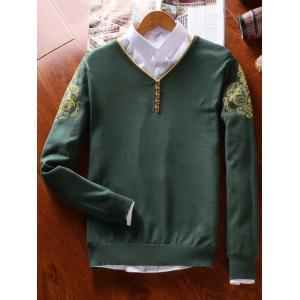 V Neck Vintage Floral Button Sweater - Vert Foncé 2XL