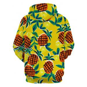 Drawstring Pineapple Print Pullover Hoodie - COLORMIX M