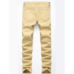 Straight Color Wash Ripped Moto Jeans - DARK KHAKI 36