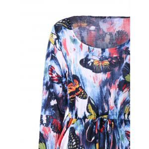Long Sleeve Butterfly Printed Drawstring Dress - COLORMIX M