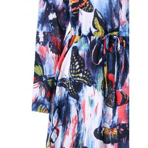 Long Sleeve Butterfly Printed Drawstring Dress - COLORMIX L