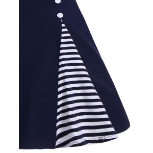 Button Embellished Striped A Line Vintage Dress -