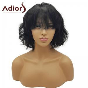 Adiors Short See-Through Bang Fluffy Wavy Bob Synthetic Wig -