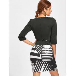 Geometric Print Faux Two-piece Bodycon Dress - WHITE AND BLACK M