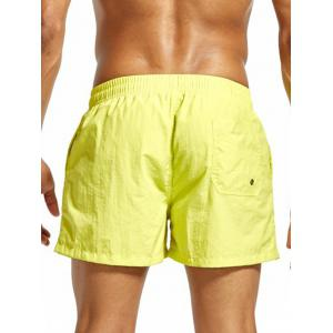 Mesh Lining Drawstring Fitness Shorts - FLUORESCENT YELLOW M