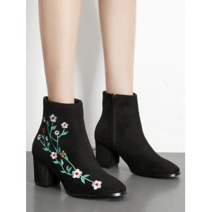 Ankle Chunky Embroidery Floral Boots - BLACK 37