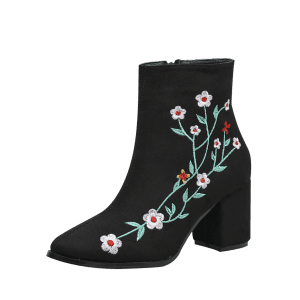 Ankle Chunky Embroidery Floral Boots - BLACK 40