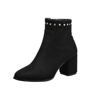 Pointe Toe Rivet Chunky Talon Bottines - Noir 35