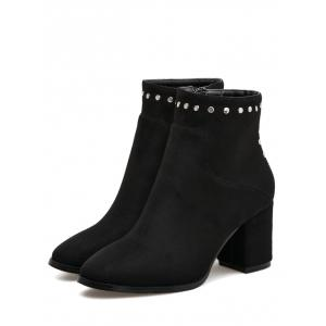 Pointed Toe Rivet Chunky Heel Ankle Boots - BLACK 36