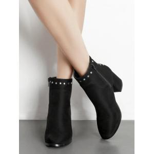 Pointed Toe Rivet Chunky Heel Ankle Boots - BLACK 37