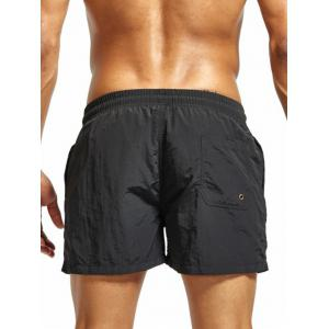 Mesh Lining Drawstring Fitness Shorts - BLACK 2XL