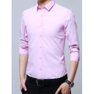 Long Sleeve Business Basic Shirt - PINK 4XL