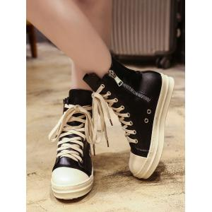 Ankle Eyelet PU Leather Boots - BLACK 38