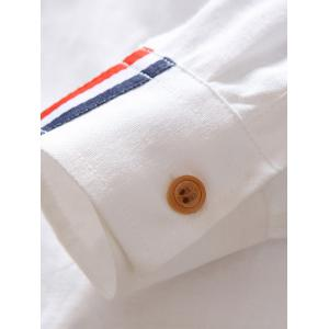 Stripe Detail Button Down Pocket Shirt - WHITE 4XL