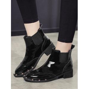 Ankle Rivet Wingtip Boots - BLACK 36